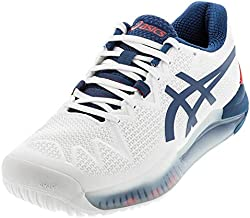 ASICS Men's Gel-Resolution 8 Tennis Shoes, 12, White/MAKO Blue