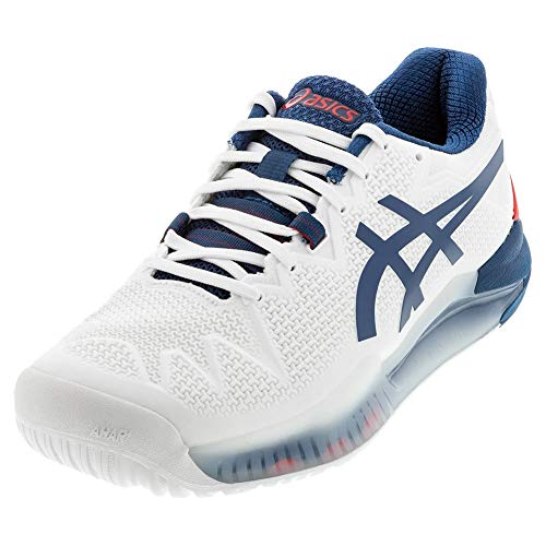ASICS Men's Gel-Resolution 8 (2E) Tennis Shoes, 10W, White/MAKO Blue