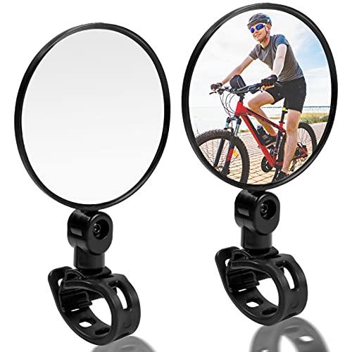 HQdeal 2 Piezas Espejo Retrovisor de Bicicleta,360° Adjustable para Bicicleta Manillar,HD Gran Angular Espejos Bicicleta para Mountain Road Bikes Ciclismo Bike