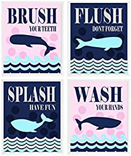 Whale Bathroom Wall Art, Kids Bathroom, Boy Girl Bathroom, Shared Bathroom, Wash, Flush, Brush, Splash, Navy Blue, Pink, Whale Decor