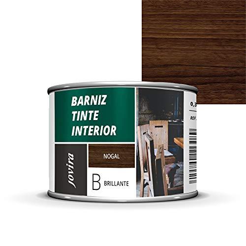 BARNIZ TINTE INTERIOR BRILLANTE, (6 COLORES), Barniz madera, Protege la madera, Decora y embellece la madera. (375 ML, NOGAL)