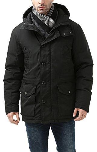 BGSD Men's Tommy Hooded Waterproof Down Parka Coat Black Small