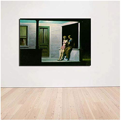 Edward Hopper Summer Evening Wall Art Canvas Painting Posters Modern Painting Wall Pictures for Living Room Decoración del hogar -60x90cm Sin marco