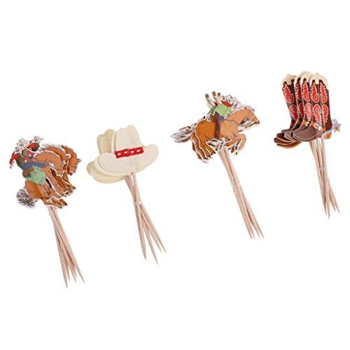Gazechimp 24-teilige Cupcake-Dekoration für Kindergeburtstag oder Geburt Kinder Geburtstag Muffin Deko - Cowboy, 24 Stück