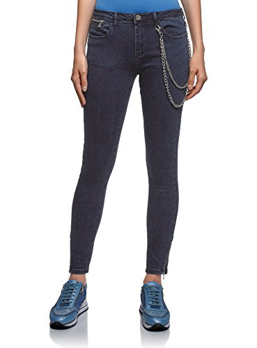oodji Ultra Donna Jeans Skinny con Cerniere su Gambe, Blu, 27W / 32L
