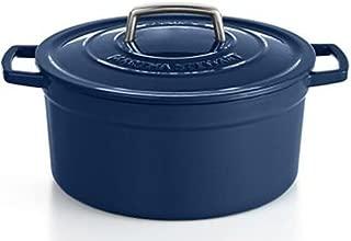 Martha Stewart Cobalt Blue Enameled Cast Iron 6 Qt. Round Dutch Oven Casserole