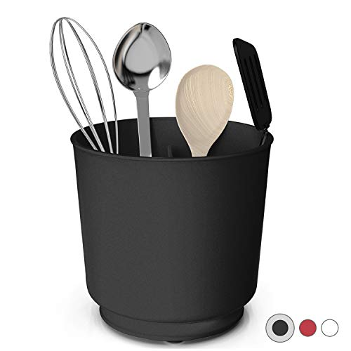 Extra Large and Sturdy Rotating Utensil Holder Caddy with NoTip Weighted Base Removable Divider And Gripped Insert | Rust Proof and Dishwasher Safe by Cooler Kitchen: Black
