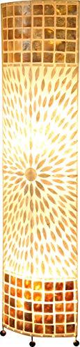 Steh Lampe Textil Decken Fluter Wohn Ess Zimmer Muschel Schalter Stand Leuchte braun Globo 25826, Mehrfarbig