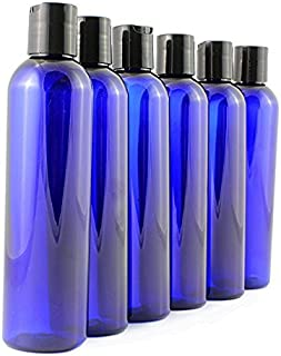 8 oz Empty Cobalt Blue Plastic Cosmo Squeeze Bottles with Disc Top Flip Cap (6 pack); BPA-Free Containers For Shampoo, Lotions, Liquid Body Soap, Creams (8 ounce, Blue)