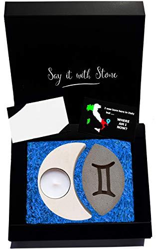 Zwillinge Sternzeichen Teelicht Kerzenhalter aus Stein - Handgemacht in Italien - Box, Teelicht Kerze und Nachrichtenkarte enthalten - Vatertag Geburtstag Mai Juni - Sternzeichen Luft