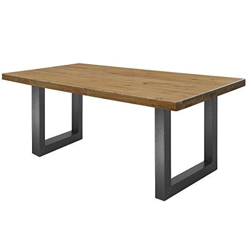 COMIFORT Mesa de Comedor - Mueble para Salon Oficina Despacho Robusto y Moderno de Roble Macizo Color Ahumado, Patas de Acero U-Forma Grafito (130x75 cm)