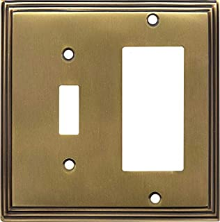 Art Deco Step Satin Antique Brass 1 Toggle Wall Switch Plate - GFCI Rocker Cover Combo