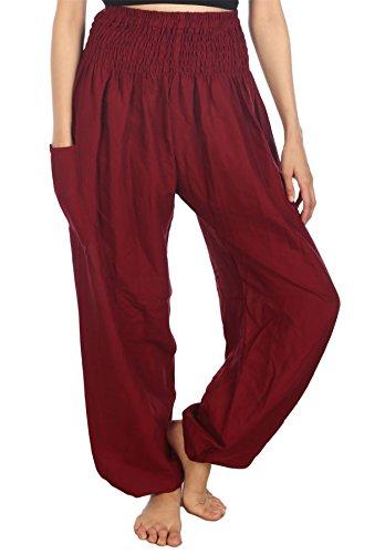 LOFBAZ Harem Pants for Women Yoga Boho Hippie Clothing Womens Palazzo Bohemian Pajama Beach Indian Gypsy Genie Clothes Solid 1 Burgundy S