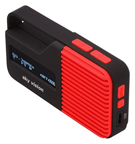 Sky Vision DAB 13 R Radio 13 R – Mini radio digitale portatile per esterni, DAB+, FM FM, funzione di ricarica USB, colore: rosso