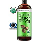 Thick Hair Organic Castor Oil Cold pressed for Hair Loss & Dandruff 100% Pure, USDA Certified Hexane-Free 16 oz. Moisturizes Heals Dry Skin, For Scalp, Skin, Hair growth, Thicker Eyelashes & Eyebrows