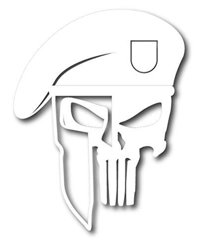 BOLDERGRAPHX 6010 Punisher Skull with Spartan Helmet and Beret white die cut vinyl decal