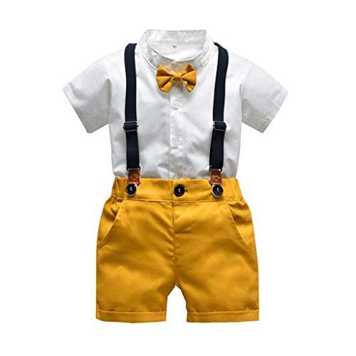 TTLOVE Kleinkind Baby Boy Bekleidung Kurzarm Fliege Gentleman Infant Boys T-Shirt Tops + Feste Shorts Outfits Kleidung, Jungen Sommer Bowtie Shirt HosenträGer Outfit Set (Weiß,90)