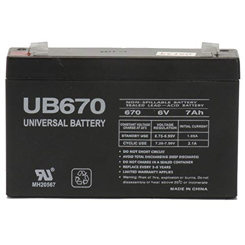 Universal Power Group 6V 7AH SLA Battery Replacement for 6V Mini Cooper S Model # W446AC-Y