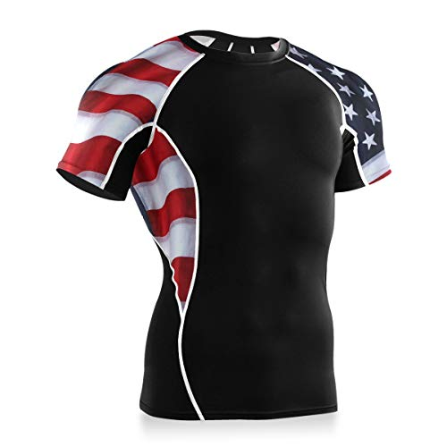 IPOXK Men's Compression Cool Dry Sports Short Sleeve Shirt Baselayer T-Shirt Athletic Running Rashguard American Flag