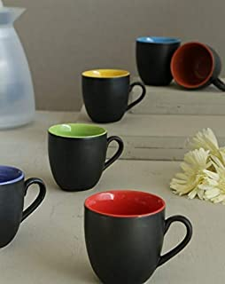 La Lady Store Black Mat Multicolour Tea/Coffee Cups, 180 Ml, Set of 6 Pieces. (Made in India)