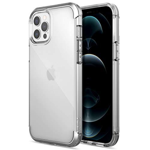 X-Doria Raptic Air Fall kompatibel mit iPhone 12 Pro Max Fall, Kratzfest, Aluminium Metall Stoßstange, drahtlose Aufladung, 13ft Drop-Schutz, passt iPhone 12 Pro Max, Klar