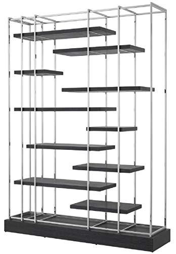 Casa Padrino Armario de estantería de Lujo Negro/Plata 166 x 45 x H. 222 cm - Mueble de Salón - Muebles de Lujo