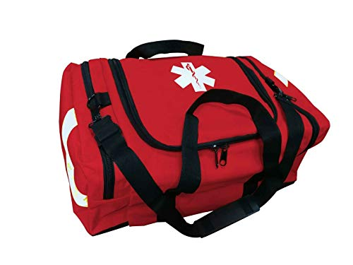 ASA Techmed First Aid Large EMT First Responder Trauma Bag for Home, Office, School, EMTs, Paramedics, First Responders + More (Red)