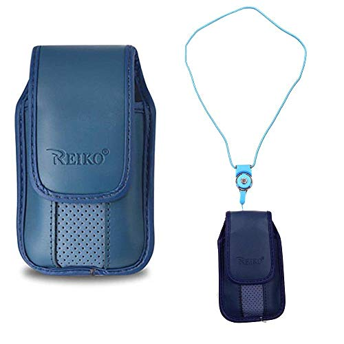 Around The Neck Blue Leather Case with Pinch Clip for ZTE z432 Phone