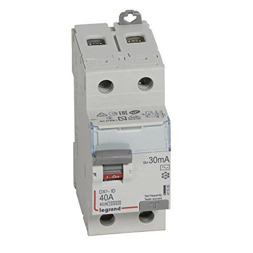 Legrand 411505 Interrupteur différentiel DX³-ID arrivée haute et départ bas à vis, 2P, 230V, 40A typeAC, 30mA, 2 modules