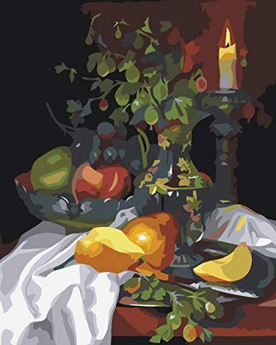 thfff DIY ramka świeca owoce malowanie według liczb farba akrylowa malowana ręcznie według liczb do kultury mieszkania, kaligrafii malarstwa