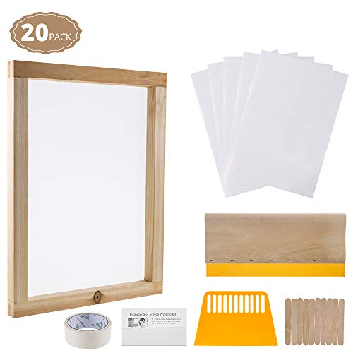 20 Pcs Screen Printing Starter Kit Include Instruction, 10 x 14 Inch Wood Silk Screen Printing Frame with 110 White Mesh, Screen Printing Squeegee, Plastic Scraper, Inkjet Transparency Film, Mask Tape