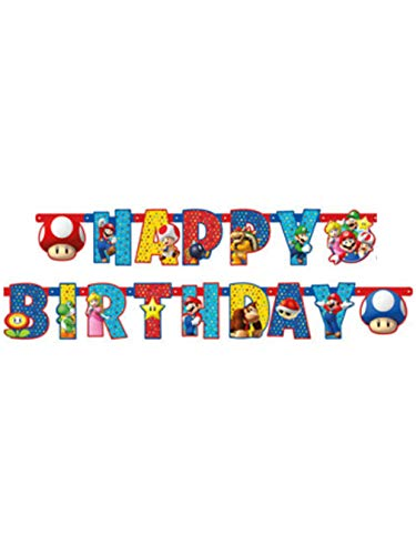 Amscan 9901542 Partykette Super Mario Happy Birthday, mehrfarbig