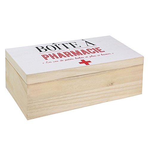 LA BOITE A BT6687 Boite à Pharmacie, Bois, Beige/Blanc, 27 x 14 x 9,8 cm