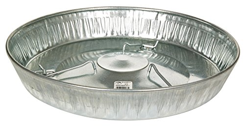 Little Giant Poultry Feeder Pan (17 Inch) Galvanized Steel Feed Container for Hanging (Item No. 9173)