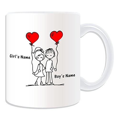 Personnalisé cadeau de Saint-Valentin romantique à bras Mug Motif Romance-Blanc-nom Message sur le Mug Unique-Couple