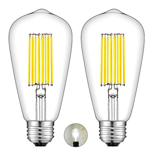 CRLight LED Edison Bulb 4000K Daylight White 12W Dimmable, 120W Equivalent 1200 LM, E26 Base Antique ST64 Clear Glass High Brightness LED Filament Bulbs, Smooth Dimming Version, 2 Pack