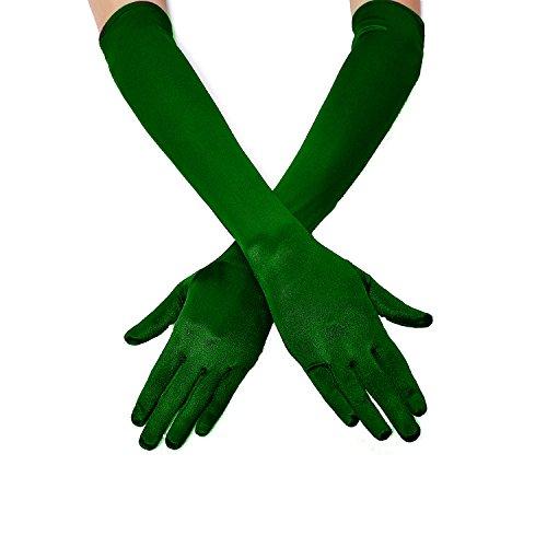 1920s Opera Satin Long Gloves 19.5' Elbow Length,12BL (OneSize, A-19.5' Satin(Green))