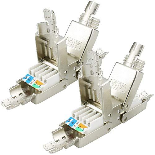 AIXONTEC Cat.6A 2 Stück LAN Netzwerk Verbindungsmodul Koppler LSA Adapter für Cat.7 LAN Ethernet Kabel geschirmt Netzwerk Verbinder mit metallischer Kabelverschraubung geeignet für CAT 6 cat. 6a
