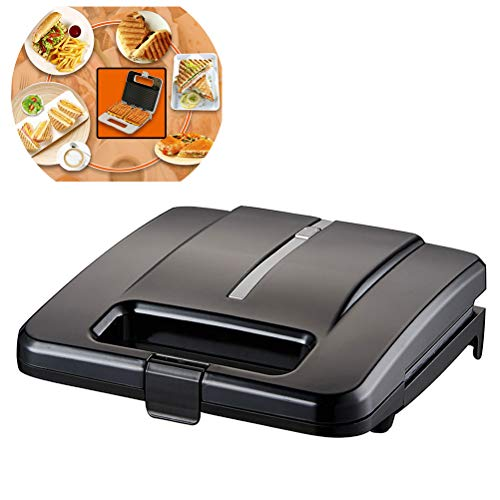 Mini Sandwich Ontbijt Maken, multifunctionele Panini Press Toast Brood Elektrische bakblik, Snacks Gourmet Burgers Zwart Wit Kies een van de drie,Black,Waffles plate