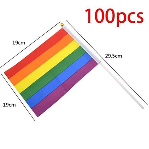 WJRAY 100pcs Bandera Arco Iris Bandera De Poliéster Bandera Lesbiana Gay Orgullo Banderas De Paz Colorido Arco Iris Banderas De Paz Lesbiana Gay Desfile Banderas Banner 100pcs