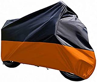 Motorcycle Dust Cover Waterproof Uv Cover For Harley Davidson Yamaha Kawasaki Universal (Black and Orange)
