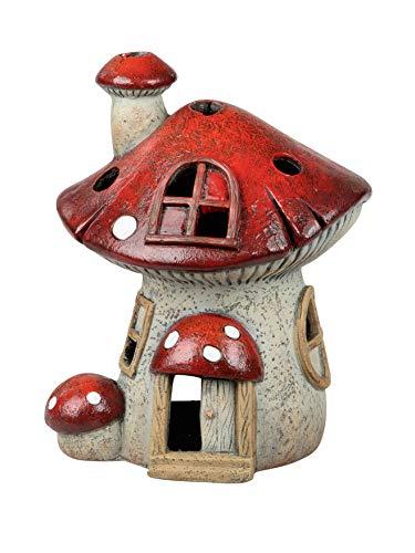dekojohnson Windlicht-Pilzhaus Deko rot wetterfest Kerzenhalter Teelichthalter für außen und innen Herbstdekoration Halloween Pilzdeko 34cm