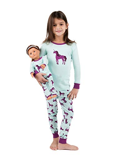 Leveret Kids & Toddler Pajamas Matching Doll & Girls Pajamas 100% Cotton Christmas Pjs Set (Unicorn,Size 8 Years)