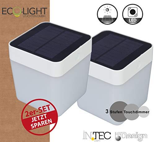 LUTEC 2er Set Table-Cube Solarleuchten, 1 Watt 3-fach Dimmbar, Kunststoff, 1 W, Weiß