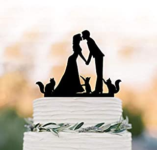 Bride And Groom Silhouette Wedding Cake Topper 3 Cats, Cake Toppers With Three Cats, Couple Silhouette, Cat Cake Toppers