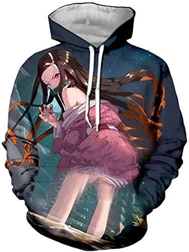 Unisex Sudaderas Unisex Animado Sudaderas 3D Demon Slayer Imprimir Pullover de Manga Larga con Capucha con Bolsillos for Mujeres de los Hombres, 1, XXXXL (Color : 2, Size : Large)