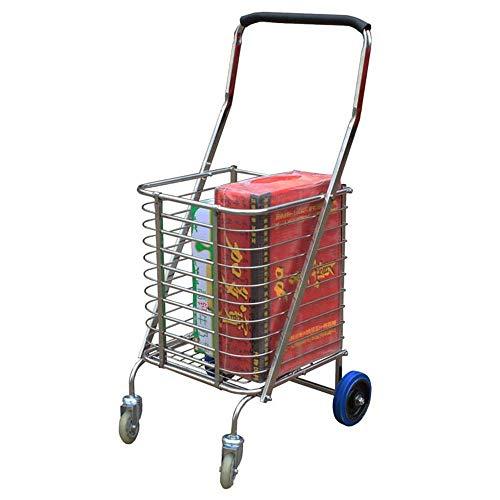 DSENIW QIDOFAN Carrito de la compra plegable plano con ruedas giratorias de 360°, resistente, ligero, carrito de la compra ligero, carrito de la compra ligero