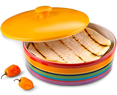 Ceramic Tortilla Warmer by KooK, Colorful Design, Holds up to 12 tortillas, 40oz