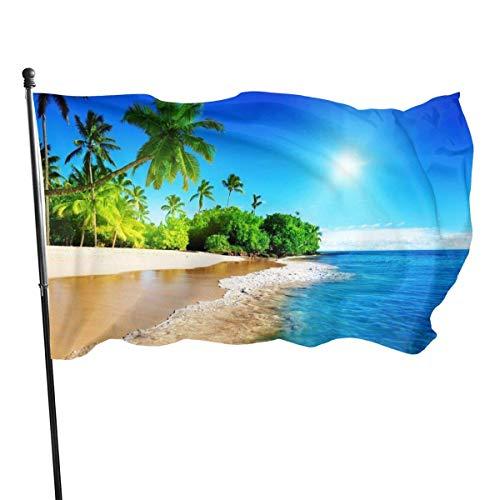 Palms - Bandera de playa tropical de 3 x 5 pies, gran pancarta de poliéster cosida, exterior, bandera estándar para colgar en el jardín, césped, vacaciones