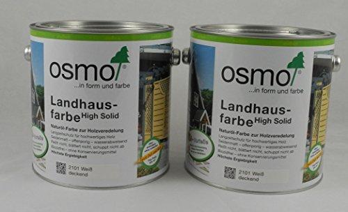 Osmo Spar-Set 2x Landhausfarbe Nr. 2101 weiß 2,5l, hochwertiger Holzanstrich